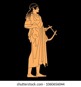 Isolated vector illustration of ancient Greek female or male character with a lyre. God Apollo or a muse. On black background.