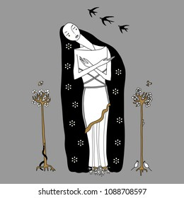 Isolated vector illustration of ancient Greek goddess Persephone. Female archetype. Metaphor for spring and renewal of nature. Hand drawn original style art.