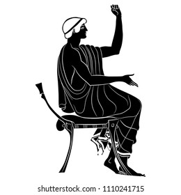 Isolated vector illustration of ancient Greek youth sitting on a chair. Based on antique vase painting motif. Black and white linear silhouette.