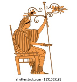 Isolated vector illustration. Ancient Greek beautiful woman or goddess seated on a chair and holding bowl, staff and stylized flowers. Based on vase painting motif.