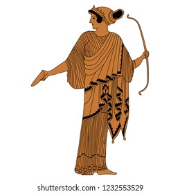 Isolated vector illustration. Ancient Greek female character. Standing goddess Artemis with a bow. Based on vase painting motif. Cartoon style.