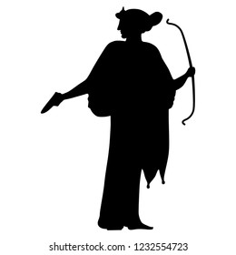 Isolated vector illustration. Ancient Greek female character. Standing goddess Artemis with a bow. Black silhouette on white background.
