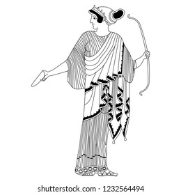 Isolated vector illustration. Ancient Greek female character. Standing goddess Artemis with a bow. Based on vase painting motif. Cartoon style. Black and white linear silhouette.