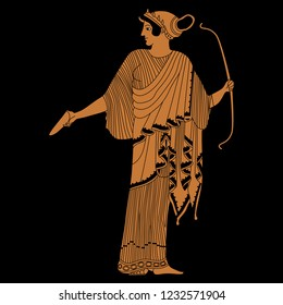 Isolated vector illustration. Ancient Greek female character. Standing goddess Artemis with a bow. Based on vase painting motif. Cartoon style. On black background.