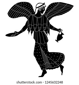 Isolated vector illustration. Ancient Greek winged goddess Nike with two vessels. Vase painting motif. Black and white silhouette.