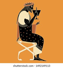 Isolated vector illustration. Ancient Greek god of wine Dionysus sitting on throne and drinking cup of wine. Vase painting style.