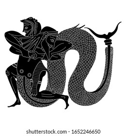 Isolated vector illustration. Ancient Greek vase painting motif. Heracles struggling with river god Achelous. Man and Tryton. Black and white linear silhouette.