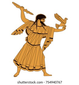 Isolated vector illustration of ancient Greek god Zeus. Based on authentic vase painting. Red-pottery style.