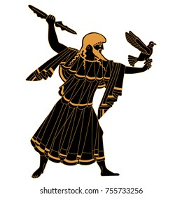 Isolated vector illustration of ancient Greek god Zeus.