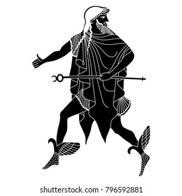 Isolated vector illustration of ancient Greek god Hermes. Based on authentic vase painting image.