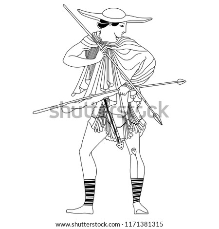 Isolated vector illustration. Ancient Greek hunter in a hat holding weapon.  Based on antique c547d3cdd0e