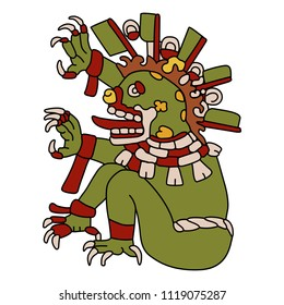 Isolated vector illustration. Ancient Mexican monster god of death. Based on image from Aztec codex Codex Magliabechiano. Cartoon style.
