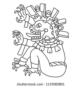 Isolated vector illustration. Ancient Mexican monster god of death. Based on image from Aztec codex Codex Magliabechiano. Black and white linear silhouette.