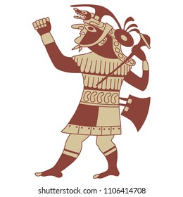 Isolated vector illustration of ancient Peruvian Mochica warior. Based on ethnic motif of Moche Indians.