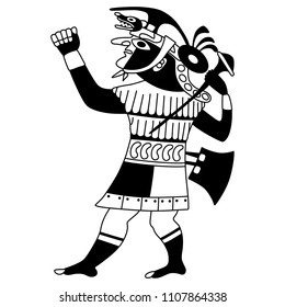 Isolated vector illustration of ancient Peruvian Mochica warior. Based on ethnic motif of Moche Indians. Black and white linear silhouette.