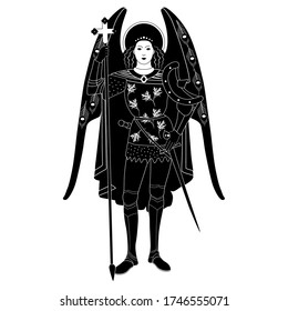 Isolated vector illustration. Archangel Michael. Winged Christian angel saint warrior guardian. Black and white silhouette. Vintage style.