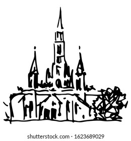 Isolated vector illustration. Basilica at Lourdes. Christian Catholic church in France. Place of pilgrimage. Hand drawn linear doodle ink sketch. Black silhouette on white background.