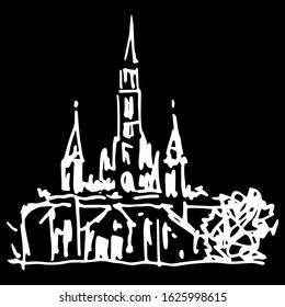 Isolated vector illustration. Basilica at Lourdes. Christian Catholic church in France. Place of pilgrimage. Hand drawn linear doodle ink sketch. White silhouette on black background.