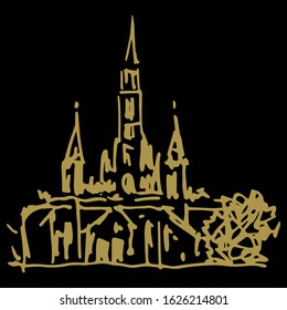 Isolated vector illustration. Basilica at Lourdes. Christian Catholic church in France. Place of pilgrimage. Hand drawn linear doodle ink sketch. Gold silhouette on black background.