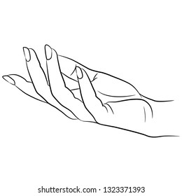 Isolated vector illustration. Beautiful female hand with open palm in elegant gesture. Hand drawn linear sketch. Black silhouette on white background.