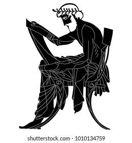 Isolated vector illustration. Black and white linear silhouette of a seated ancient Greek man with a scroll.