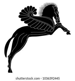 Isolated vector illustration. Black and white silhouette of a rearing winged horse Pegasus. Ancient Greek mythology. Ethnic style. Based on authentic vase painting image.