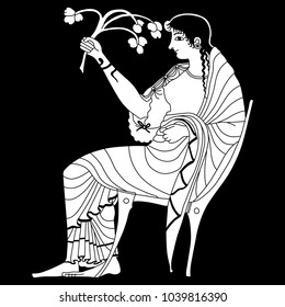 Isolated vector illustration. Black and white linear silhouette of ancient Greek goddess Demeter or Persephone seated on a throne and holding a plant branch. Based on vase painting motif.