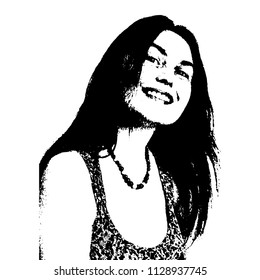 Isolated vector illustration. Black and white portrait of a beautiful smiling caucasian girl with ling dark hair.