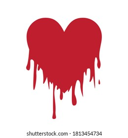 Isolated vector illustration of a bleeding heart.