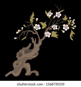 Isolated vector illustration. Blooming deciduous tree with white flowers in spring or summer. Hawthorn blossom. On black background.