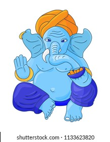 Isolated vector illustration: Blue Lord Ganesha Vinayaka. God Ganapati with Elephant Face. Blessing Ganesha.