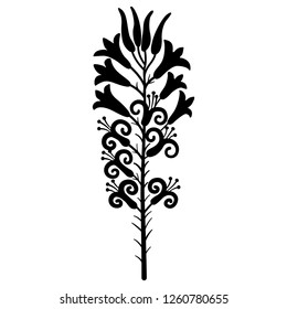 Isolated vector illustration. Branch of stylized lily blossom. Based on ancient Cretan Minoan motif. Black silhouette on white background.