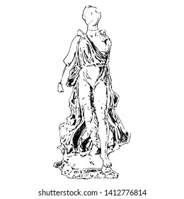 Isolated vector illustration. Broken ancient Greek sculpture of goddess Nike from Olympia. Hand drawn linear ink sketch. Black silhouette on white background.