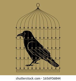 Isolated vector illustration. Captive raven in a cage. Black and gold silhouette.