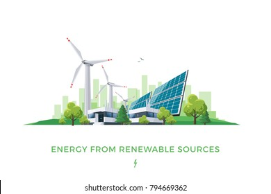 Isolated vector illustration of clean electric energy from renewable sources sun and wind. Power plant station buildings with solar panels and wind turbines on city skyline urban landscape background.