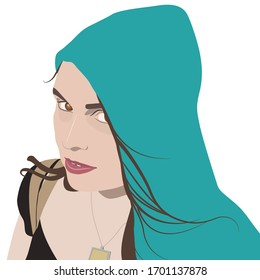 Isolated vector illustration. Closeup female portrait. Young Caucasian woman in hood. Flat cartoon style.