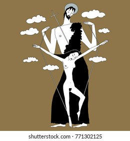 Isolated vector illustration. Crucifix. Dance of Salome. Juxtaposition of male and female archetypes.  Based on hand drawn original style art.