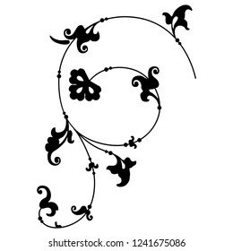 Isolated vector illustration. Elegant vintage decor with spiral floral motifs. Black silhouette on white background.