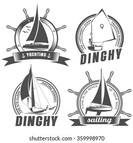isolated vector illustration emblem with the image of yachts on a white background in vintage style / set of logos for sailing