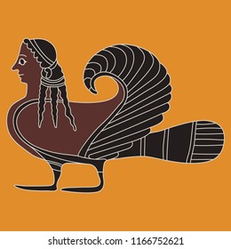 Isolated vector illustration. Fantastic ancient Greek mythological creature. Siren. Half woman half bird. Based on vase painting motif.