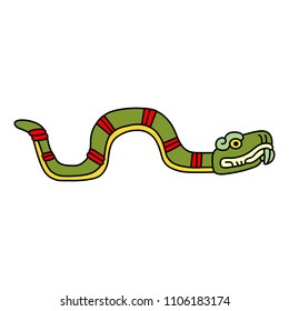 Isolated vector illustration of a fantastic Aztec snake. Based on ancient Mexican codex motif.