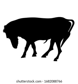 Isolated vector illustration. Fantastic bull with human bearded head. Black silhouette on white background.