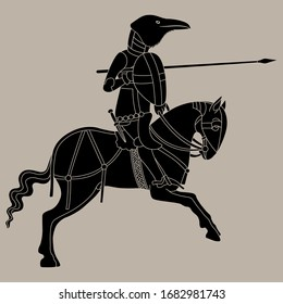 Isolated vector illustration. Fantastic character.  Raven as warrior rider. Medieval knight with raven's head riding a horse. Monochrome silhouette.