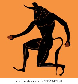Isolated vector illustration. Fantastic mythological creature. Ancient Greek monster Minotaur. Half man half bull. Vase painting motif.
