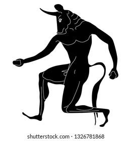 Isolated vector illustration. Fantastic mythological creature. Ancient Greek monster Minotaur. Half man half bull. Black and white linear silhouette.