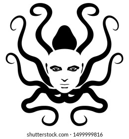 Isolated vector illustration. Fantastic sea monster. Octopus with sinister female face and hair as tentacles. Black and white silhouette. Femme fatale archetype. Medusa Gorgon.