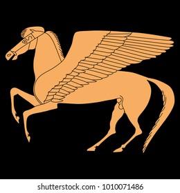 Isolated vector illustration of fantastic winged horse Pegasus. Ancient Greek mythology. Based on classical old vase painting.