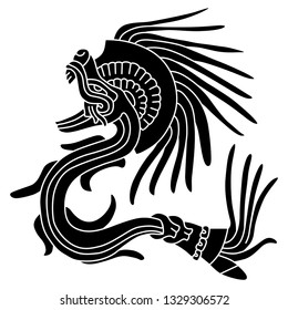 Isolated vector illustration. Feathered Serpent Quetzalcoatl. Fantastic mythological creature of Mexican Aztec Indians. Based on ancient Codex image. Black and white silhouette.
