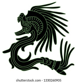 Isolated vector illustration. Feathered Serpent Quetzalcoatl. Fantastic mythological creature of Mexican Aztec Indians. Based on ancient Codex image.