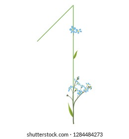 Isolated vector illustration. Floral alphabet. Numeral 1 with forget-me-not flowers.
